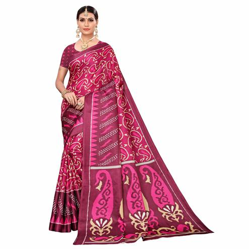 Fantastic Pink Colored Casual Printed Art Silk Saree