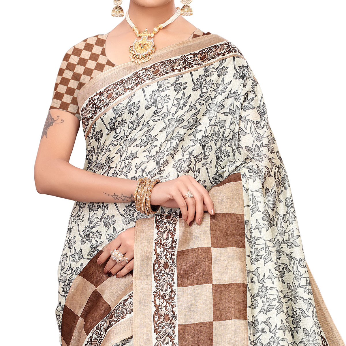 Gorgeous Off White-Brown Colored Casual Printed Art Silk Saree