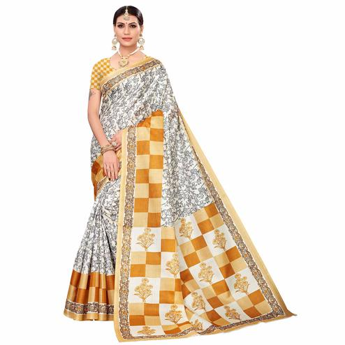 Blissful Off White-Mustard Yellow Colored Casual Printed Art Silk Saree
