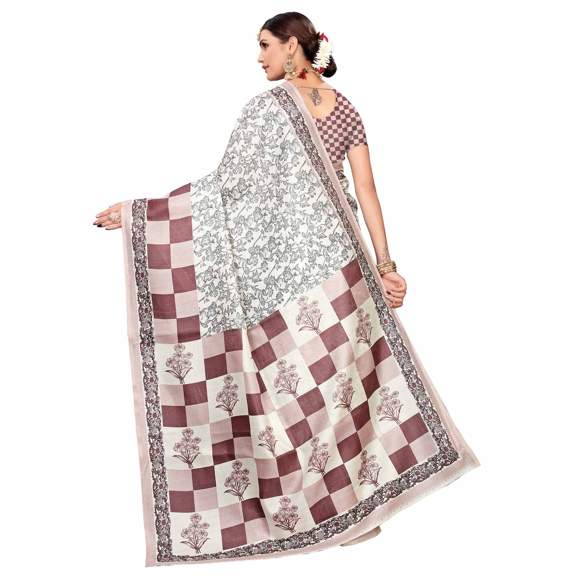 Ideal Off White-Mauve Colored Casual Printed Art Silk Saree