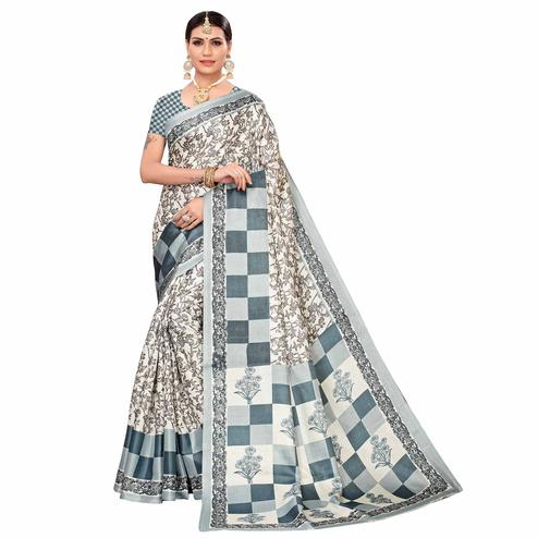 Imposing Off White-Gray Colored Casual Printed Art Silk Saree