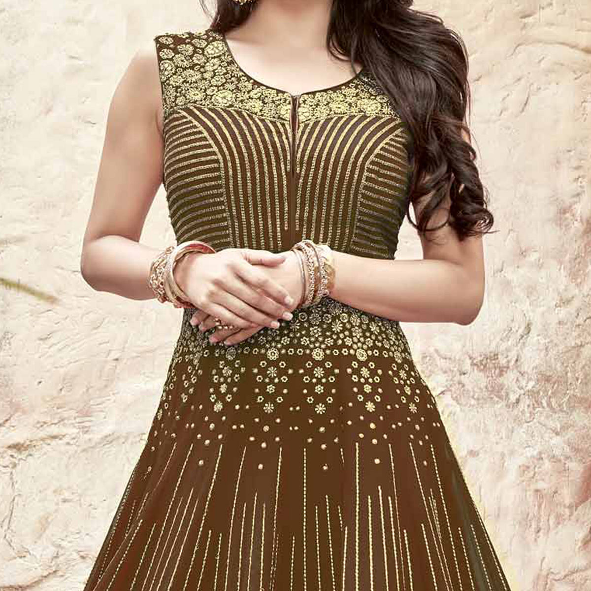 Radiant Saddle Brown Designer Anarkali Suit