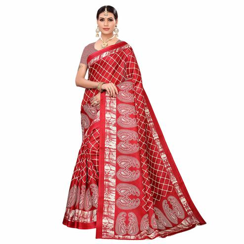 Impressive Red Colored Casual Printed Art Silk Saree