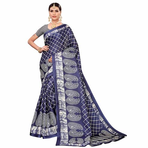 Mesmerising Navy Blue Colored Casual Printed Art Silk Saree