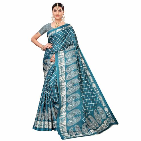 Pleasance Rama Blue Colored Casual Printed Art Silk Saree
