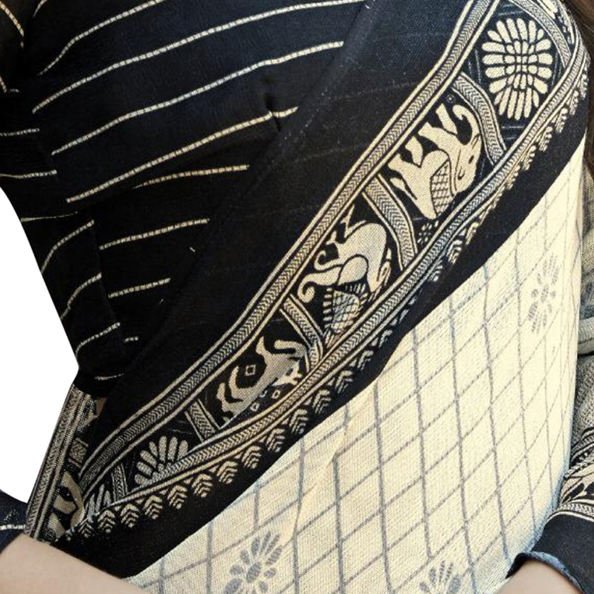 Lovely White-Black Colored Festive Wear Printed Linen Saree