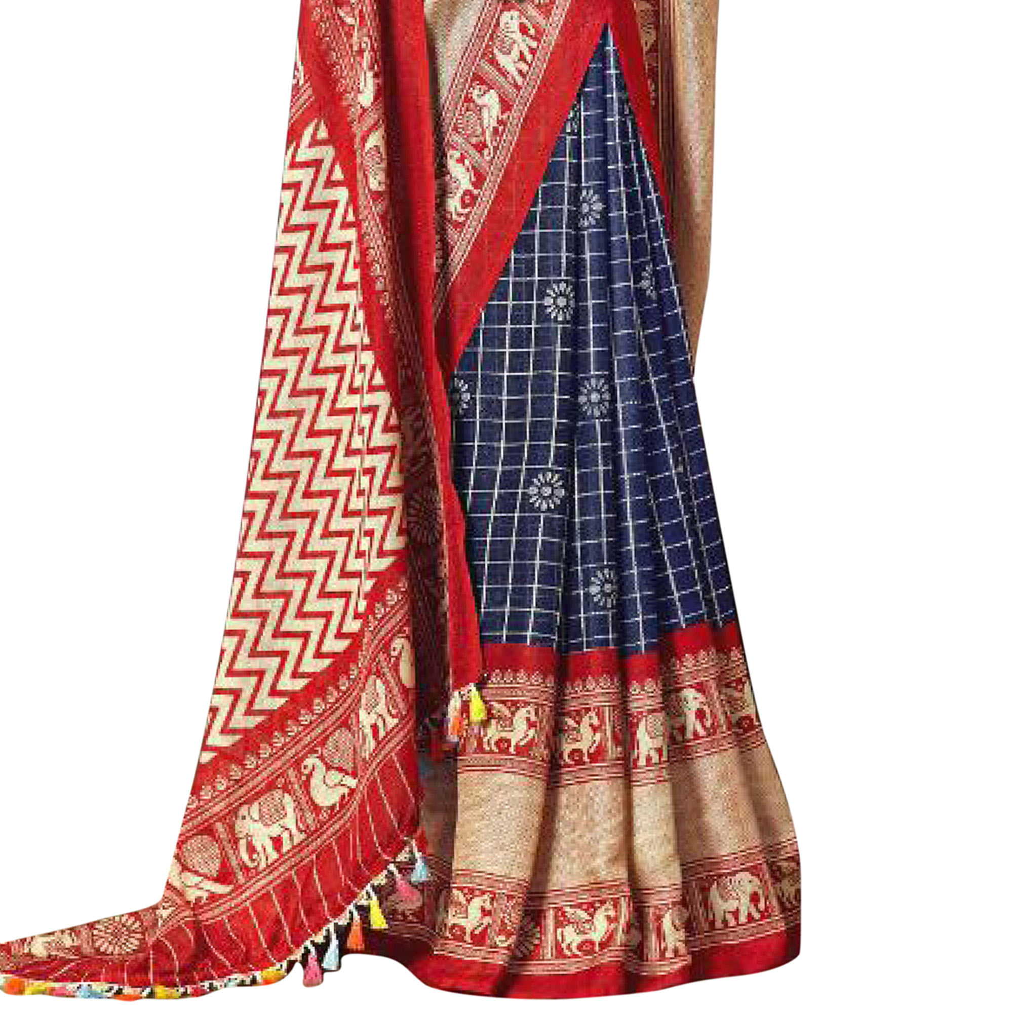 Majesty Navy Blue-Red Colored Festive Wear Printed Linen Saree