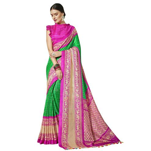 Impressive Green-Pink Colored Festive Wear Printed Linen Saree