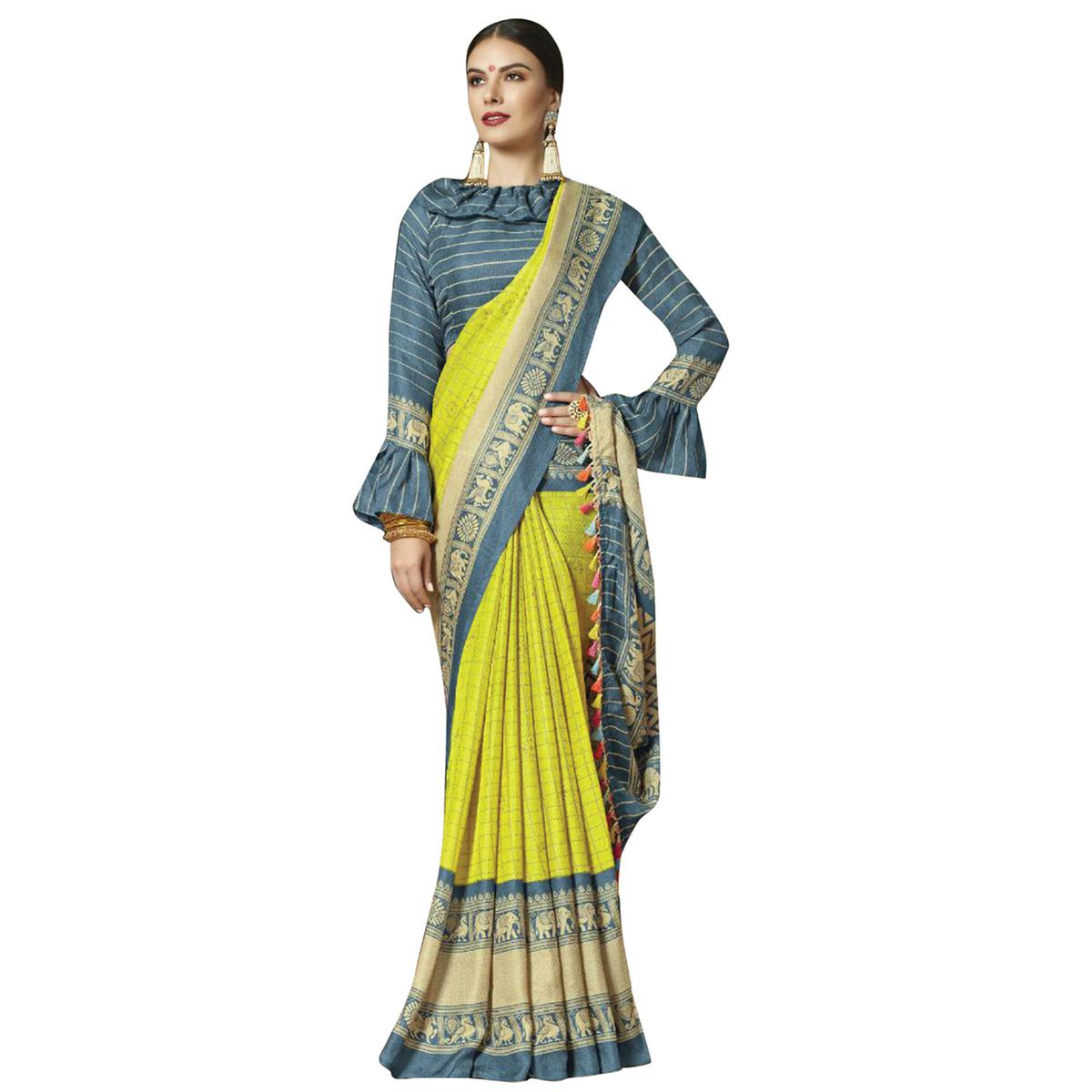 Mesmerising Lemon Green-Gray Colored Festive Wear Printed Linen Saree