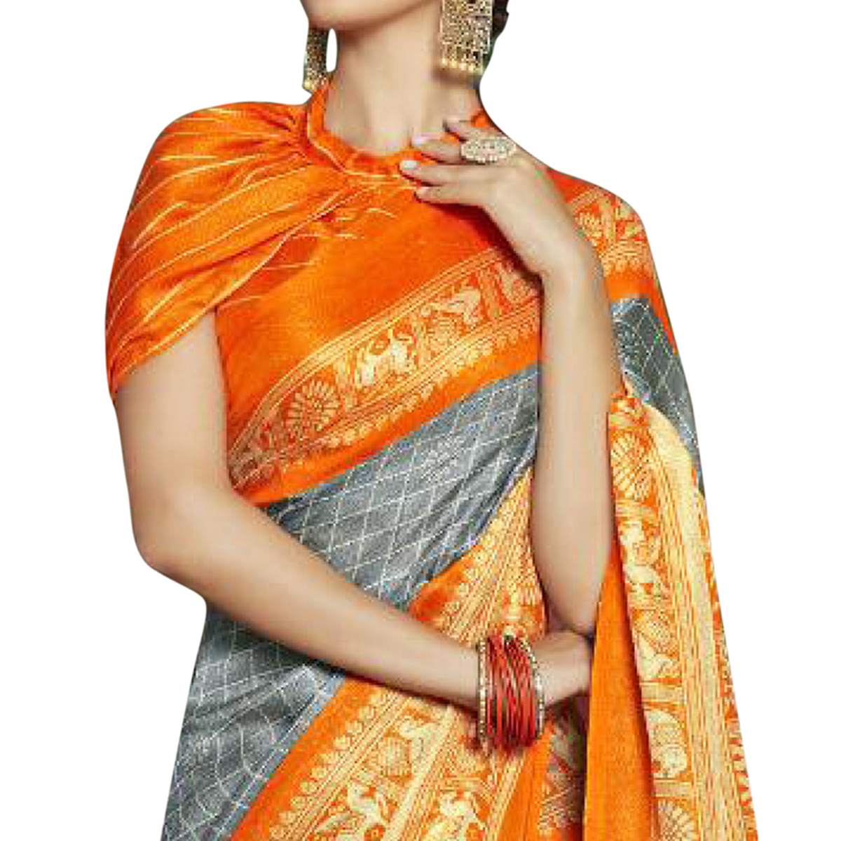 Pleasance Gray-Orange Colored Festive Wear Printed Linen Saree