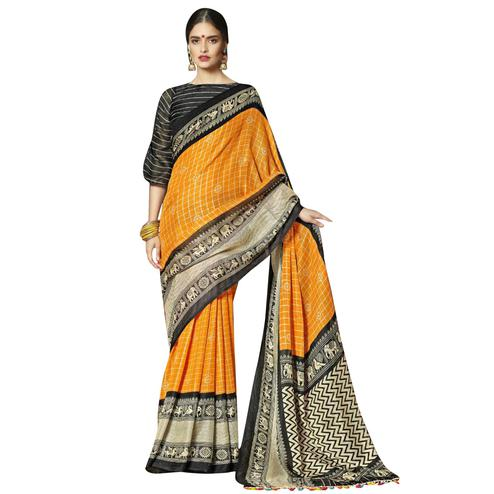 Breathtaking Orange-Black Colored Festive Wear Printed Linen Saree