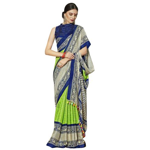 Ethnic Green-Blue Colored Festive Wear Printed Linen Saree