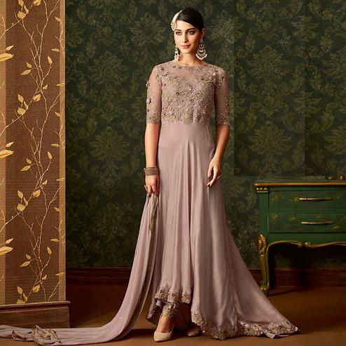 Stunning Pastel Mauve Colored Partywear Embroidered Georgette Anarkali Suit