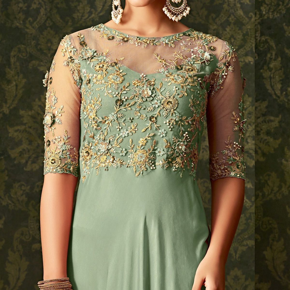 Hypnotic Aqua Green Colored Party Wear Embroidered Georgette Anarkali Suit