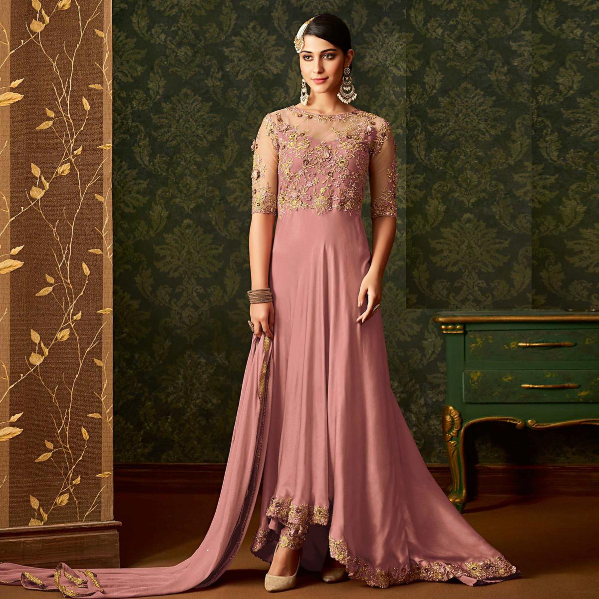 Delightful Pink Colored Partywear Embroidered Georgette Anarkali Suit