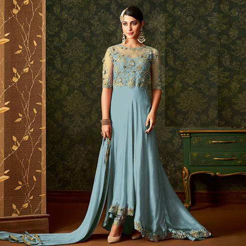 Fantastic Sky Blue Colored Partywear Embroidered Georgette Anarkali Suit