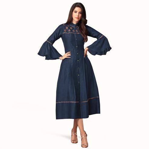 Stylish Navy Blue Colored Partywear Embroidered Bell Sleeves Cotton Kurti