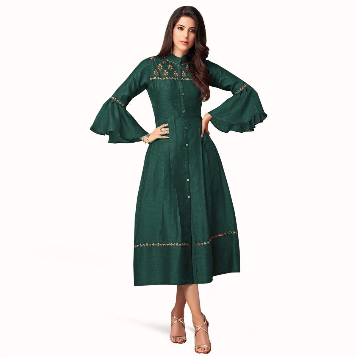 Majesty Dark Ocean Green Colored Partywear Embroidered Bell Sleeves Cotton Kurti