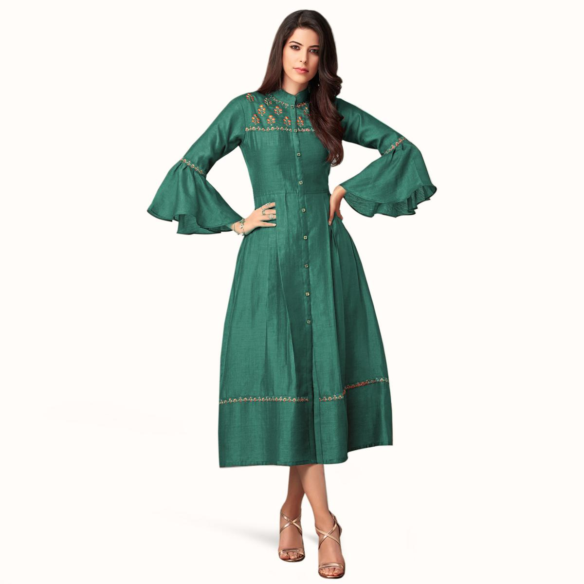 Excellent Green Colored Partywear Embroidered Bell Sleeves Cotton Kurti