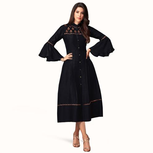 Preferable Black Colored Partywear Embroidered Bell Sleeves Cotton Kurti