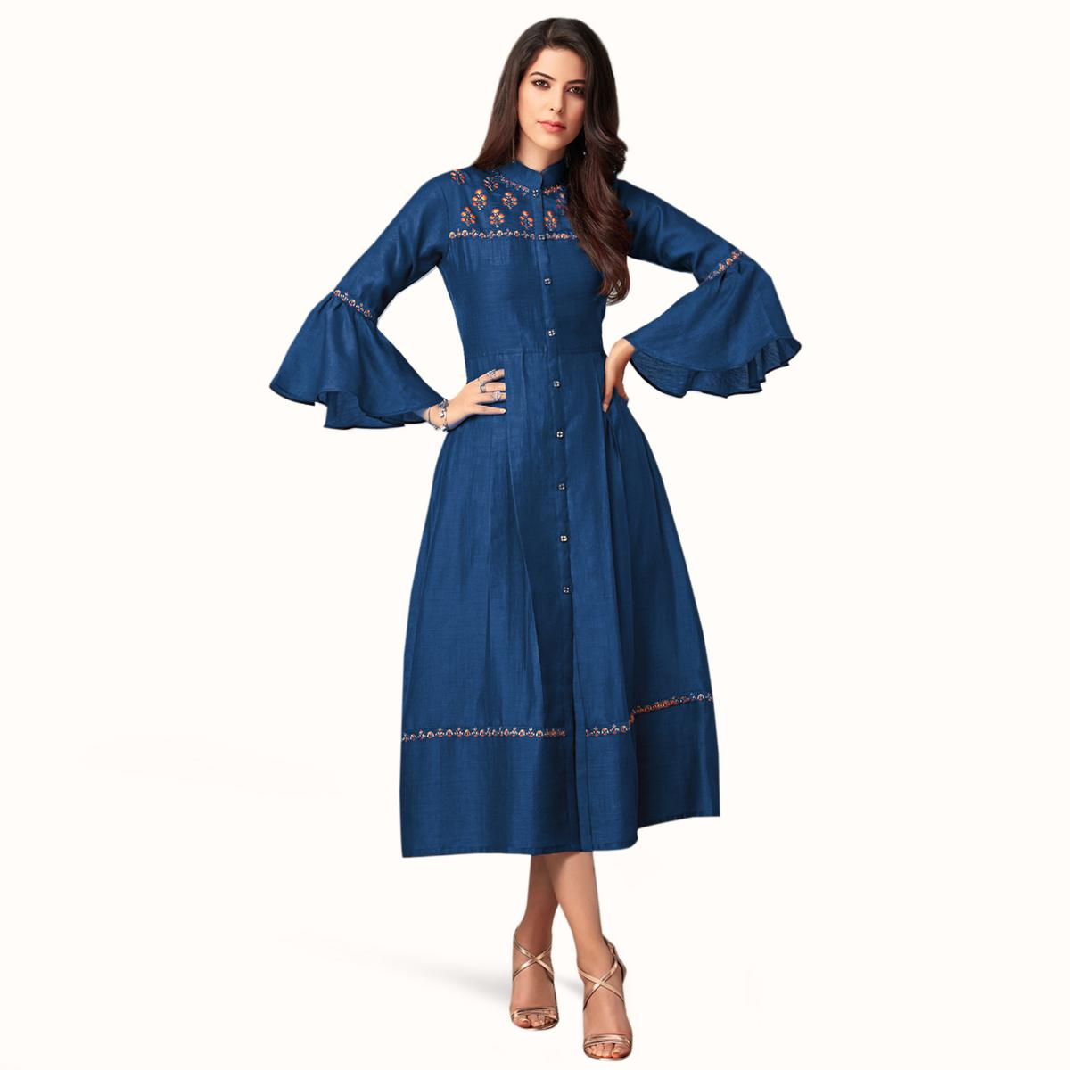 Marvellous Blue Colored Partywear Embroidered Bell Sleeves Cotton Kurti