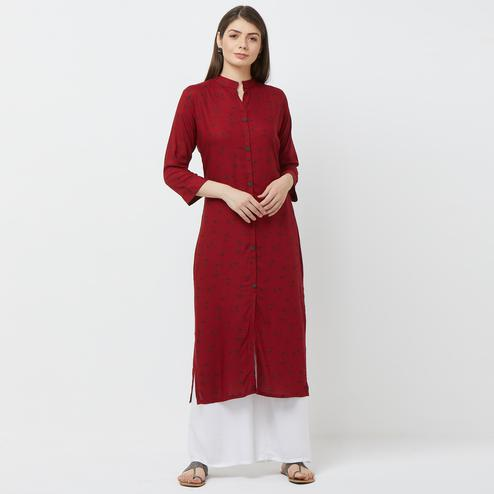 Appealing Maroon Colored Casual Printed Rayon Long Kurti