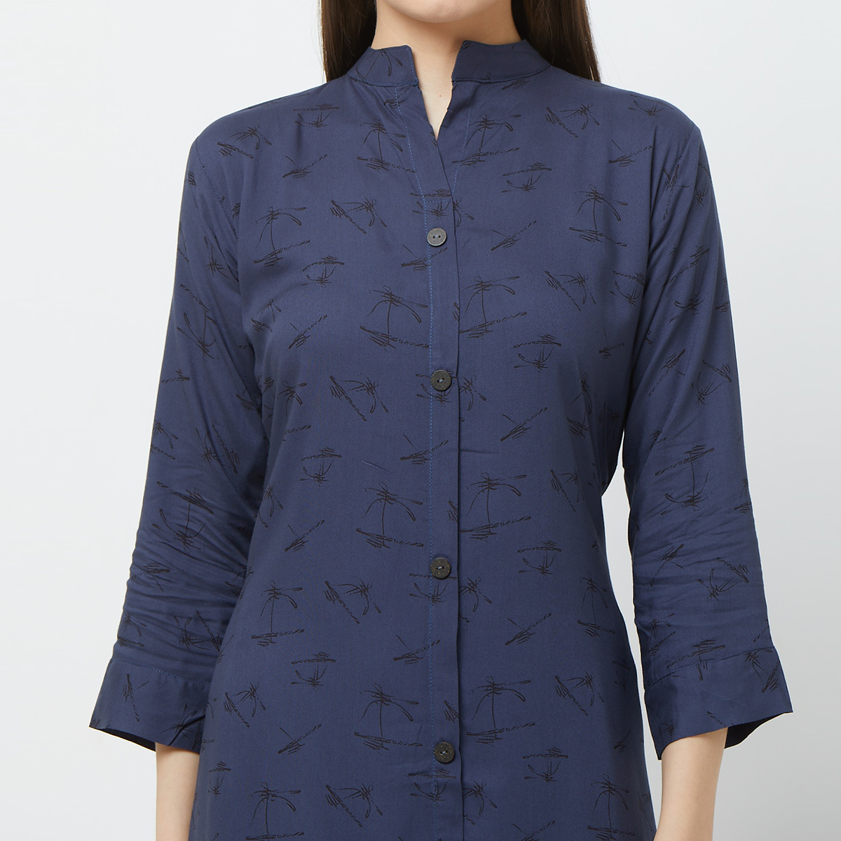 Capricious Blue Colored Casual Printed Rayon Long Kurti
