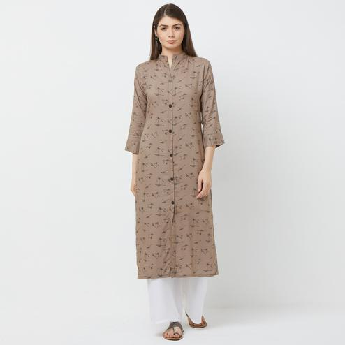 Entrancing Gray Colored Casual Printed Rayon Long Kurti