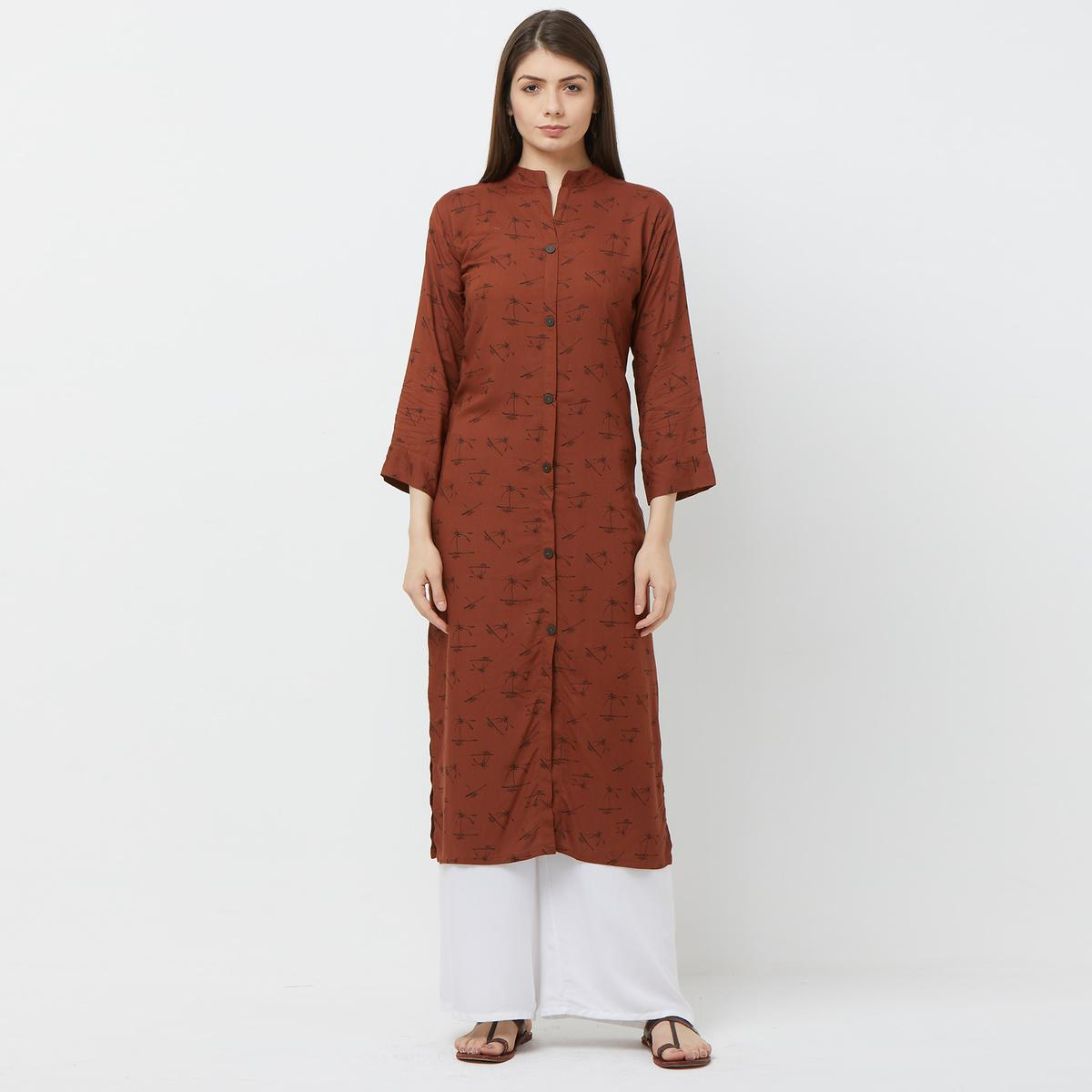 Prominent Brown Colored Casual Printed Rayon Long Kurti