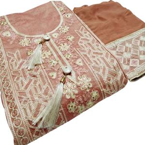 Trendy Peach Colored Partywear Embroidered Cotton Dress Material