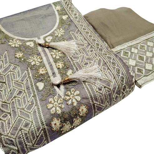 Impressive Gray Colored Partywear Embroidered Cotton Dress Material