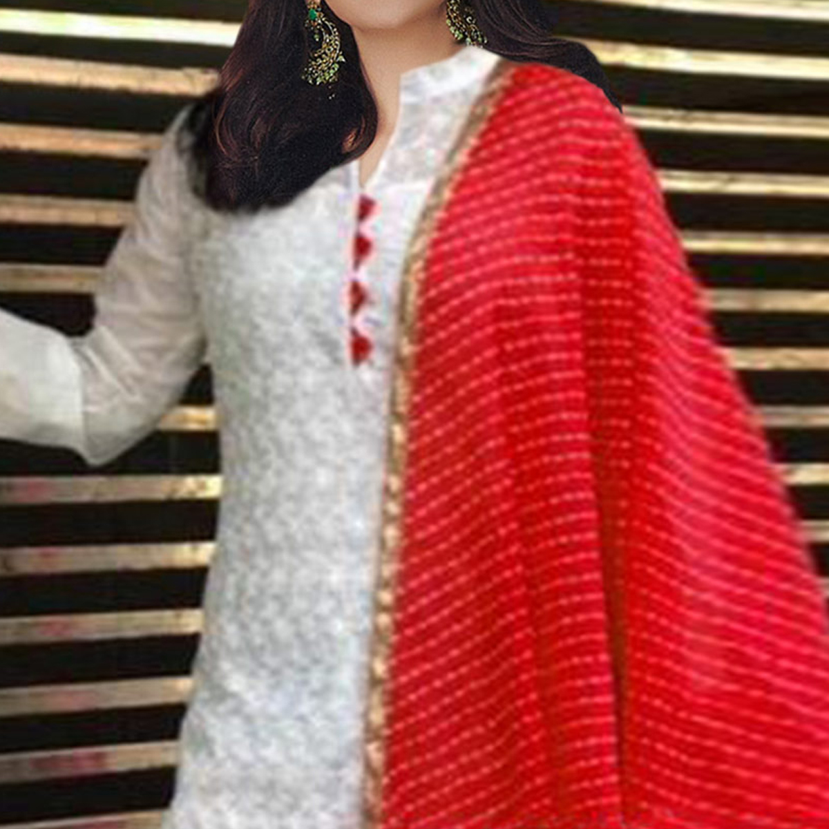 Amazing White-Red Colored Partywear Embroidered Cotton Palazzo Suit