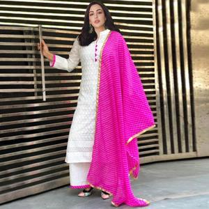 Classy White-Pink Colored Partywear Embroidered Cotton Palazzo Suit