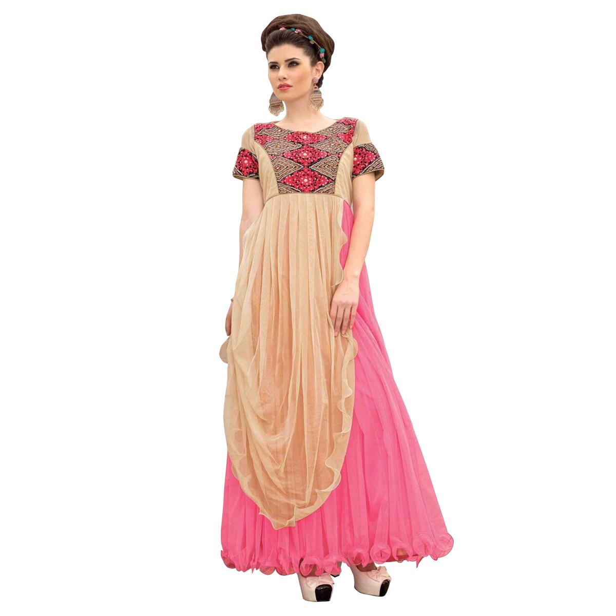 Coral Pink - Beige Gown