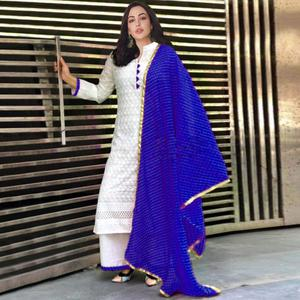 Beautiful White-Blue Colored Partywear Embroidered Cotton Palazzo Suit