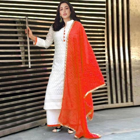 Fantastic White-Orange Colored Partywear Embroidered Cotton Palazzo Suit