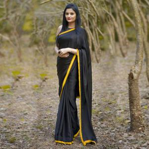 Gleaming Black-Yellow Colored Partywear Georgette Saree