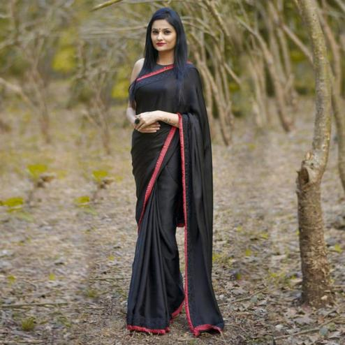 Adorning Black-Red Colored Partywear Georgette Saree