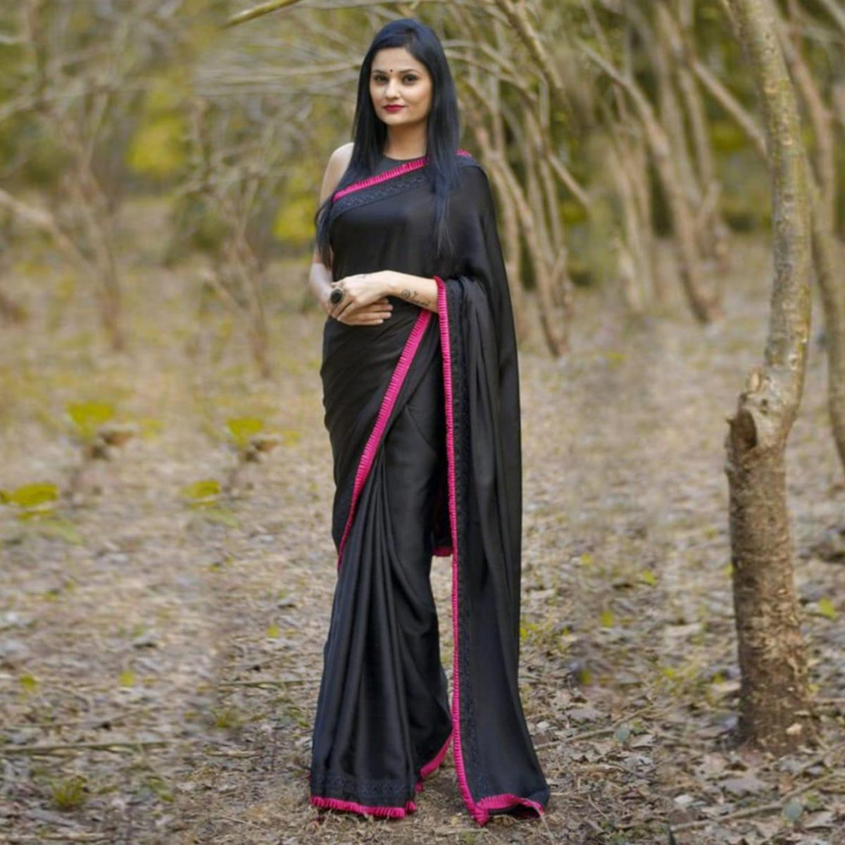 Stylish Black-Pink Colored Partywear Georgette Saree