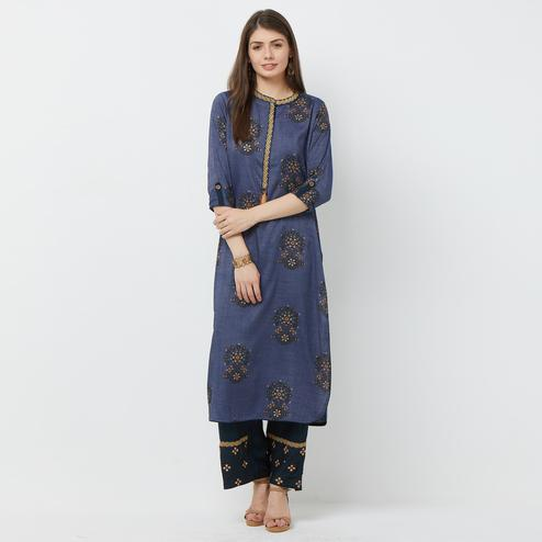 Attractive Gray Colored Partywear Printed Cotton Palazzo Suit