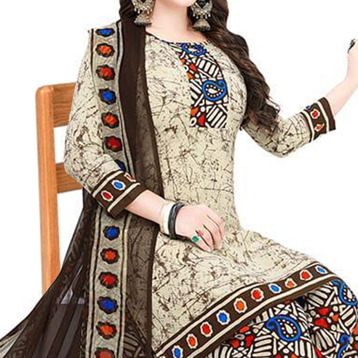 Elegant Beige Colored Casual Printed Crepe Patiala Suit