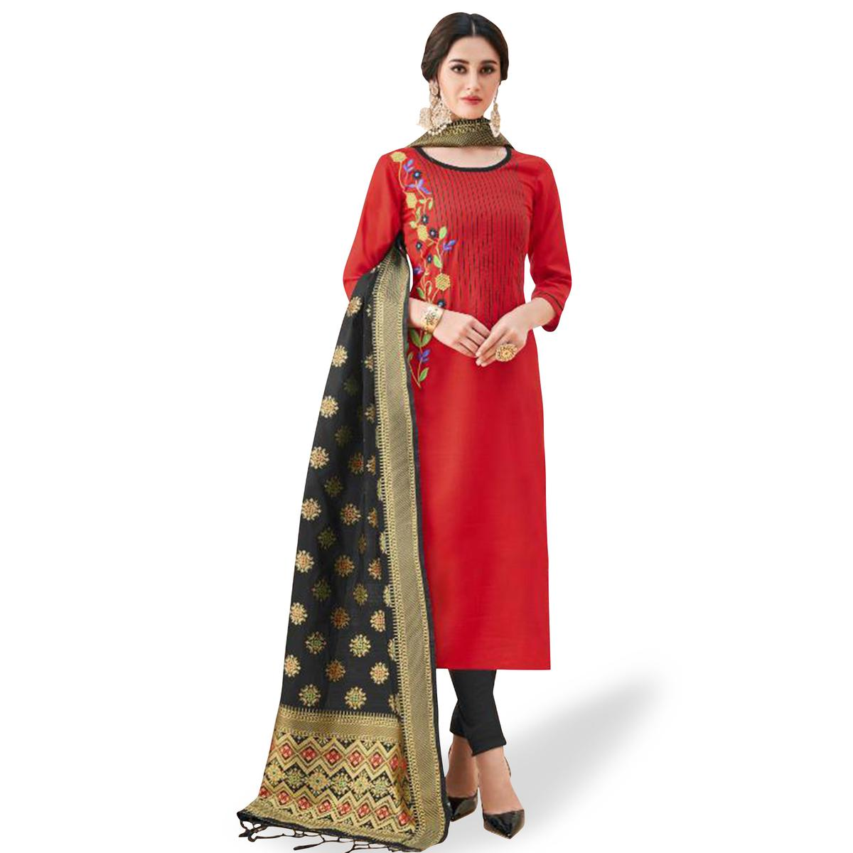 Fantastic Red Colored Partywear Embroidered Cotton Suit With Banarasi Silk Dupatta