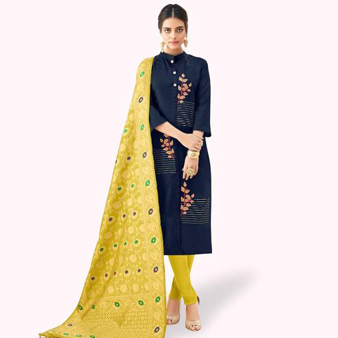 Amazing Navy Blue Colored Partywear Embroidered Cotton Suit With Banarasi Silk Dupatta
