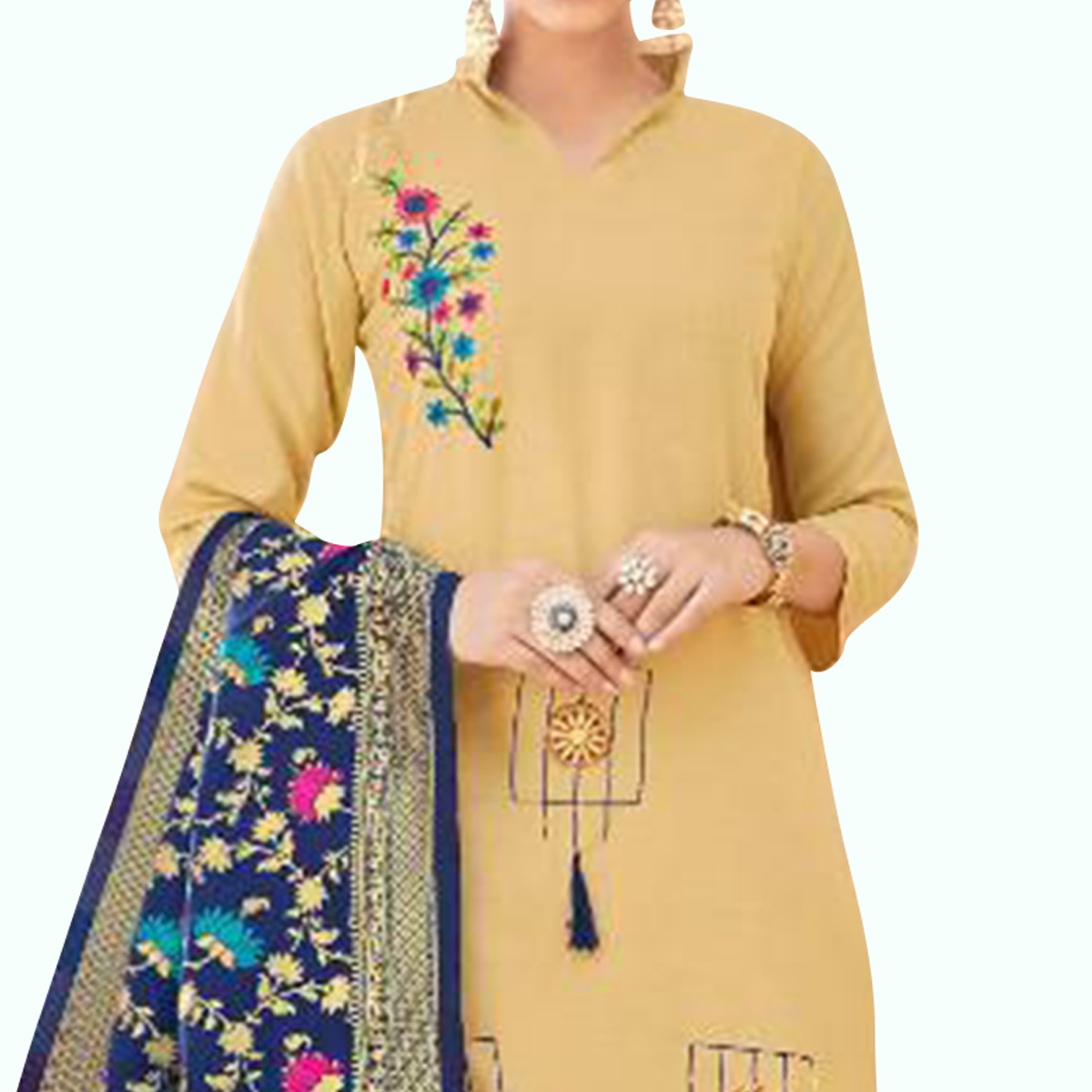 Gorgeous Beige Colored Partywear Embroidered Cotton Suit With Banarasi Silk Dupatta
