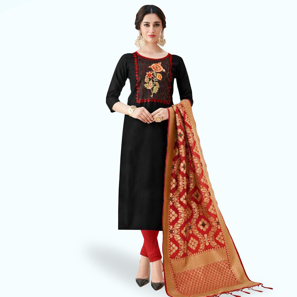 Blissful Black Colored Partywear Embroidered Cotton Suit With Banarasi Silk Dupatta