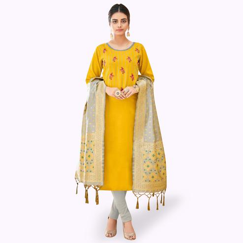Demanding Yellow Colored Partywear Embroidered Cotton Suit With Banarasi Silk Dupatta