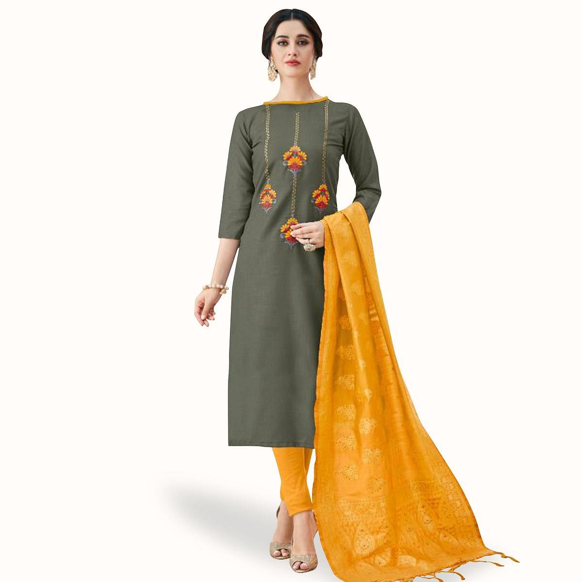 Magnetic Gray Colored Partywear Embroidered Cotton Suit With Banarasi Silk Dupatta