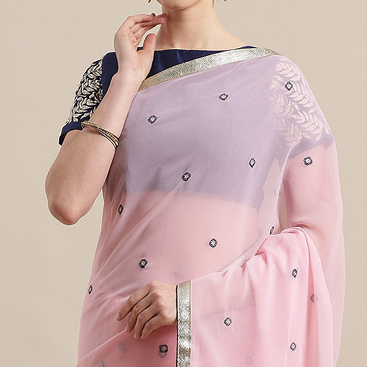 Amazing Light Pink Colored Partywear Embroidered Georgette Saree