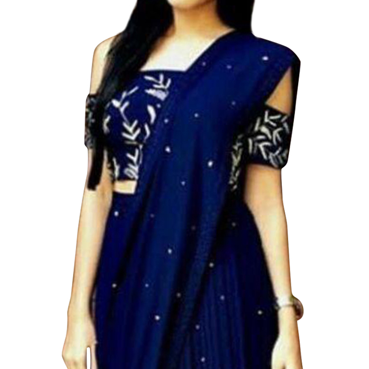 Fantastic Navy Blue Colored Partywear Embroidered Art Silk Saree