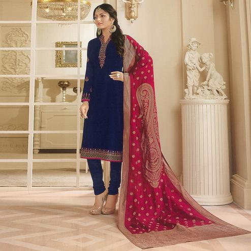 Radiant Navy Blue Colored Partywear Embroidered Georgette Satin Suit With Banarasi Silk Dupatta